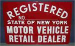 NYS Registered Motor Vehicle Retail Dealer Sign